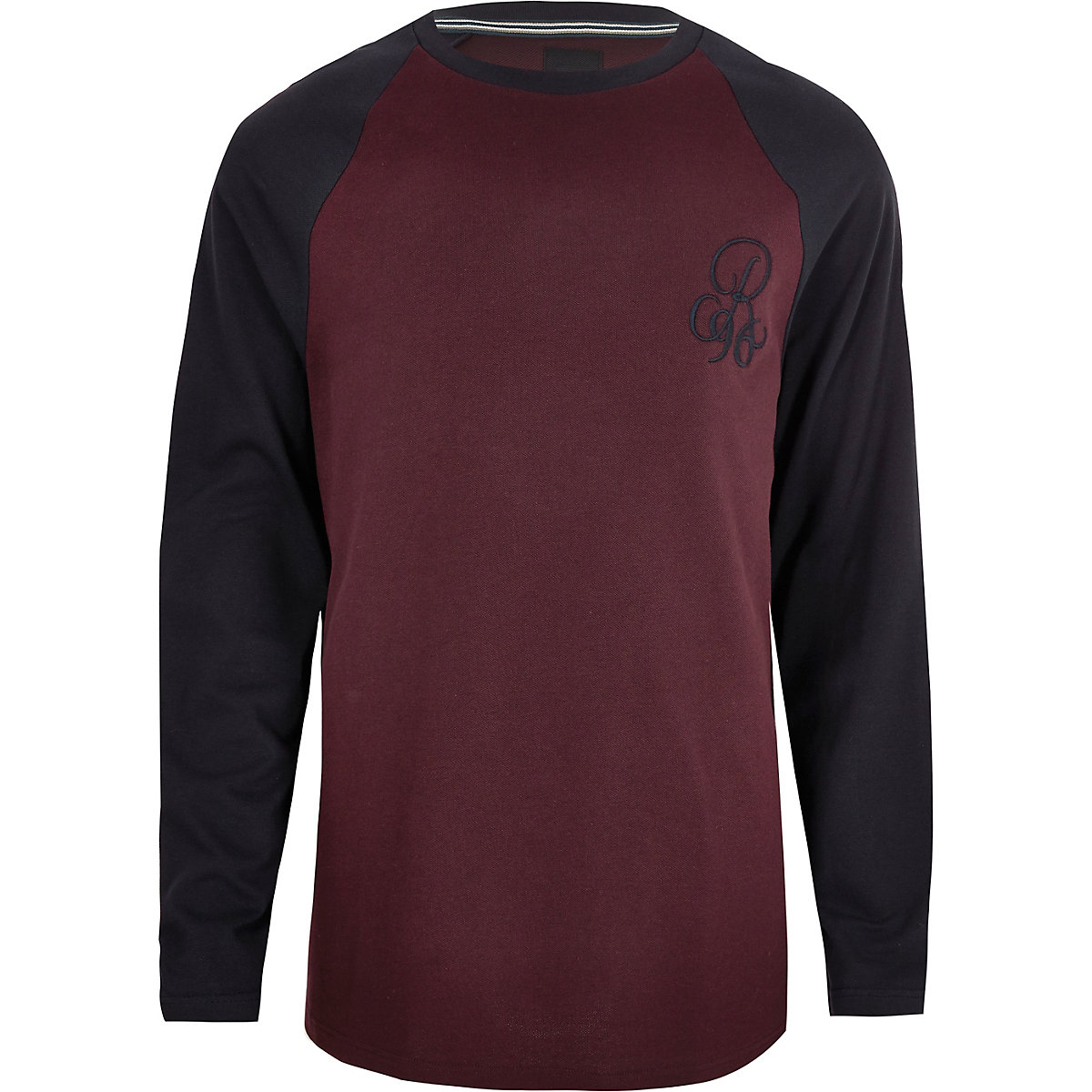 Big and Tall R96 burgundy muscle fit T-shirt