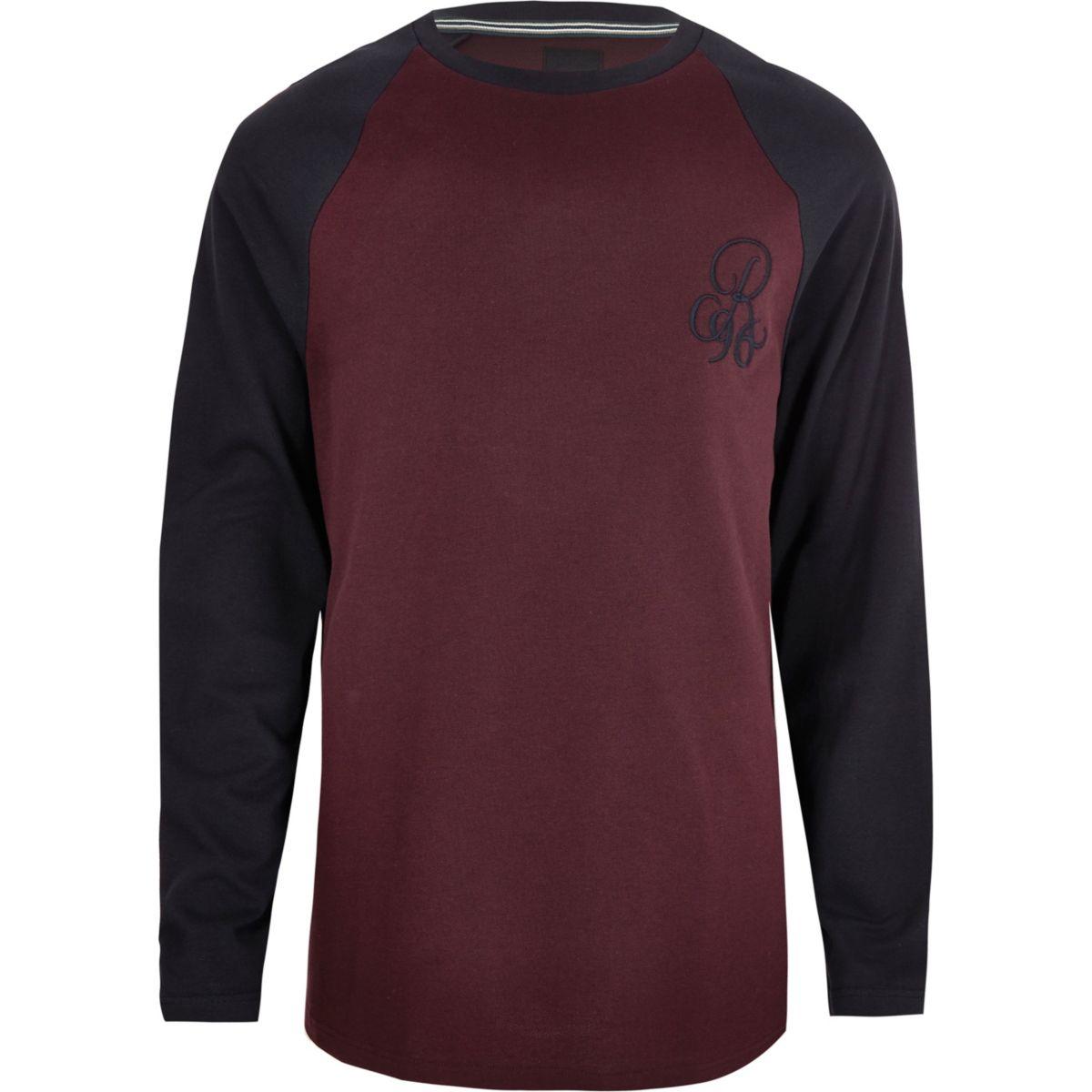 Big & Tall burgundy muscle fit raglan T-shirt