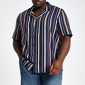 Big and Tall navy stripe shirt