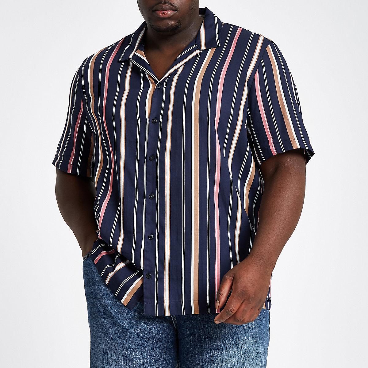 Big and Tall – Marineblau gestreiftes Hemd