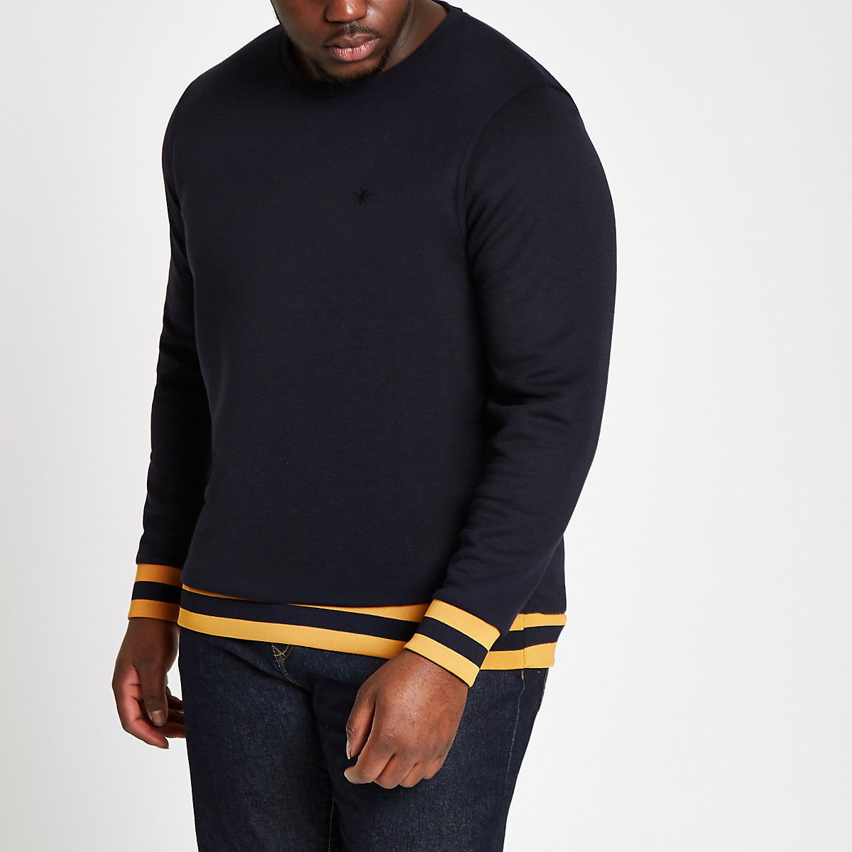 Big and Tall navy tipped sweatshirt