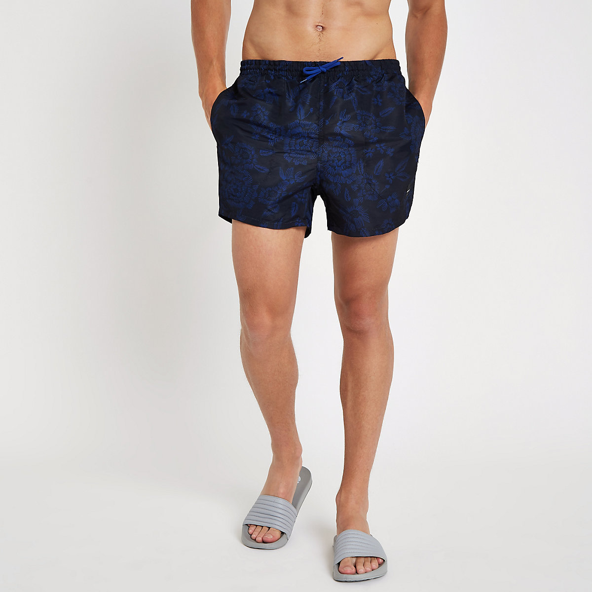 Only & Sons blue floral swim shorts
