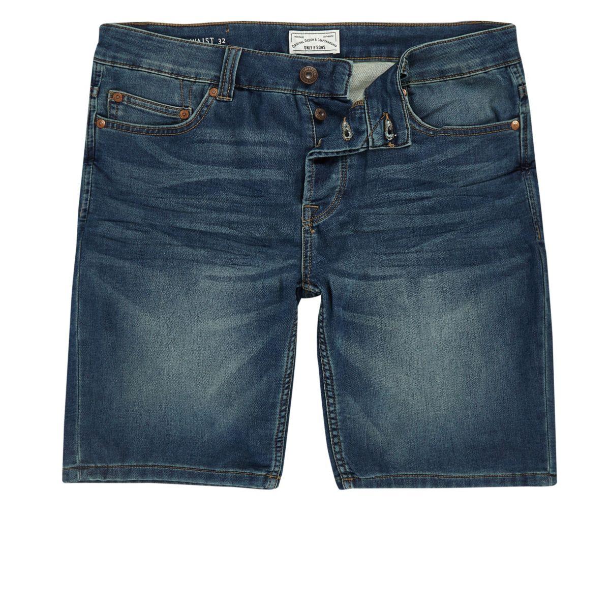 Only & Sons blue denim shorts