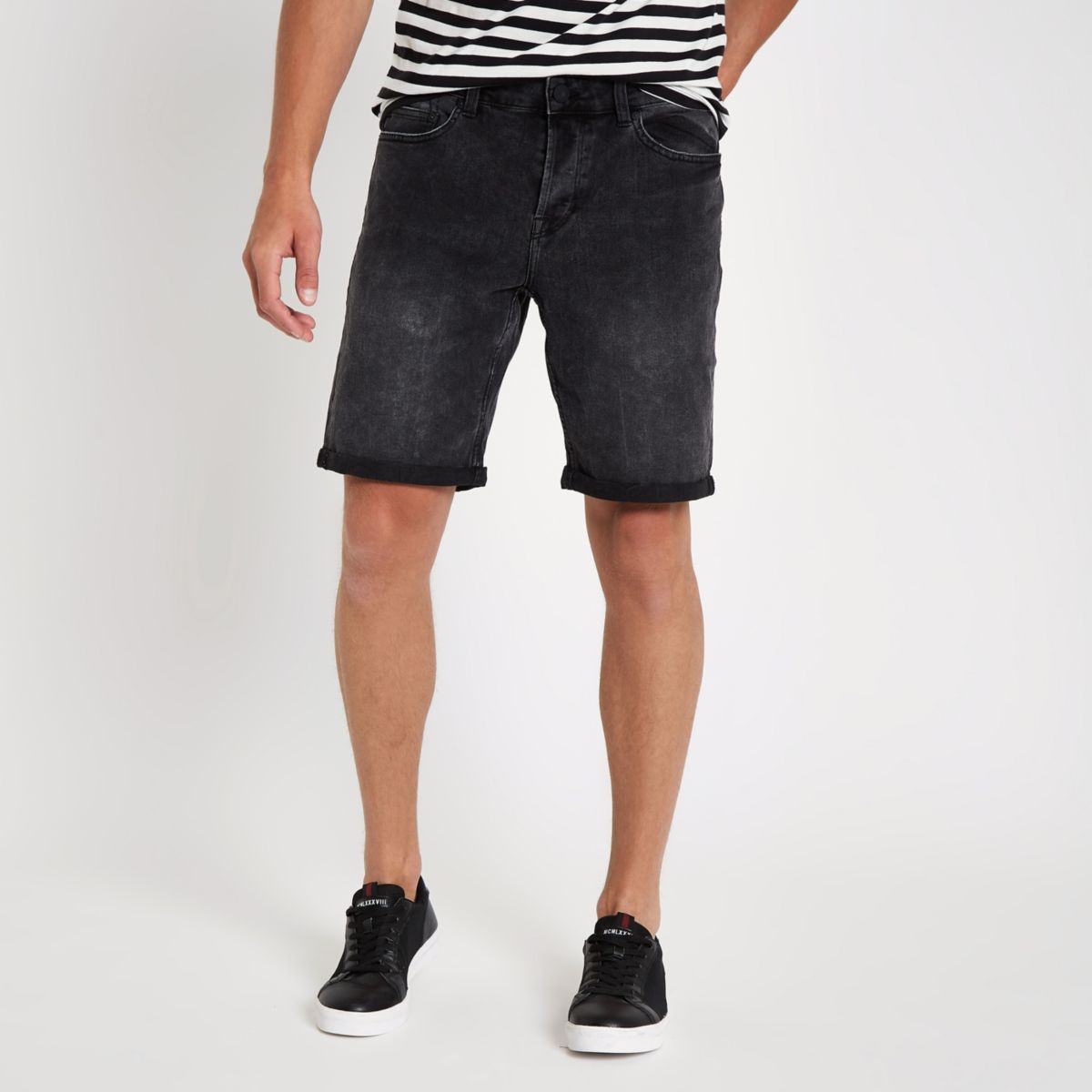 Only & Sons grey denim shorts