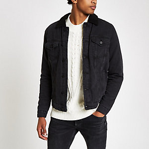 Only & Sons black shearling denim jacket