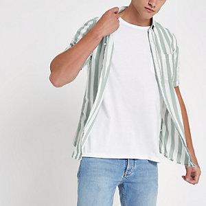 Only & Sons - Grijs gestreept overhemd met korte mouwen