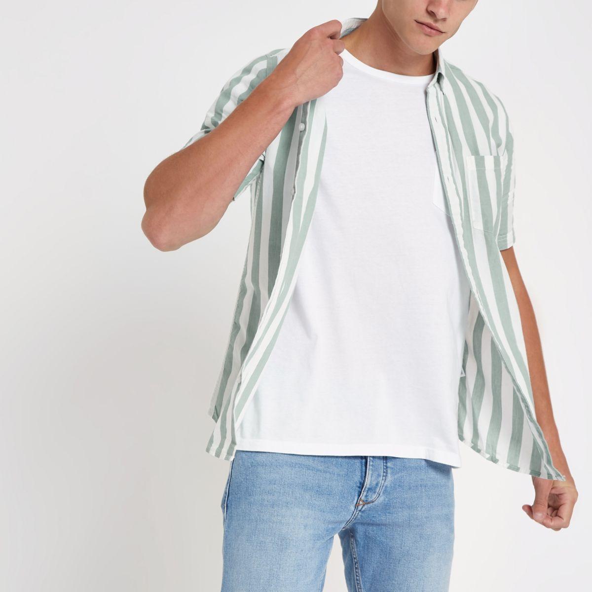 Only & Sons grey stripe short sleeve shirt