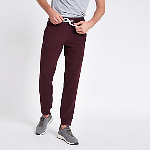 Superdry dark red cuffed joggers