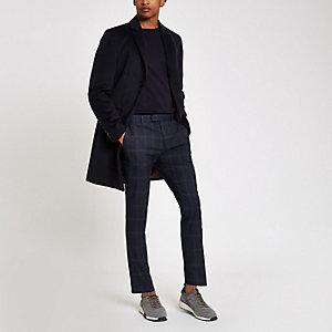 Pantalon skinny habillé à carreaux bleu marine