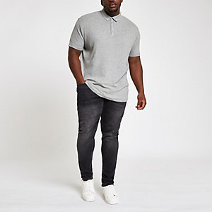 Grey ribbed muscle fit polo shirt