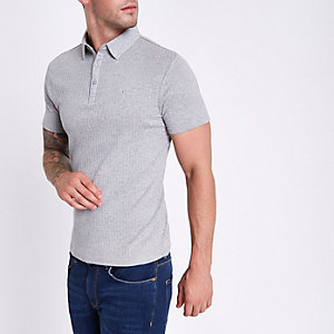Grey marl muscle fit ribbed polo shirt