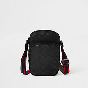 Black mini cross body RI flight pouch