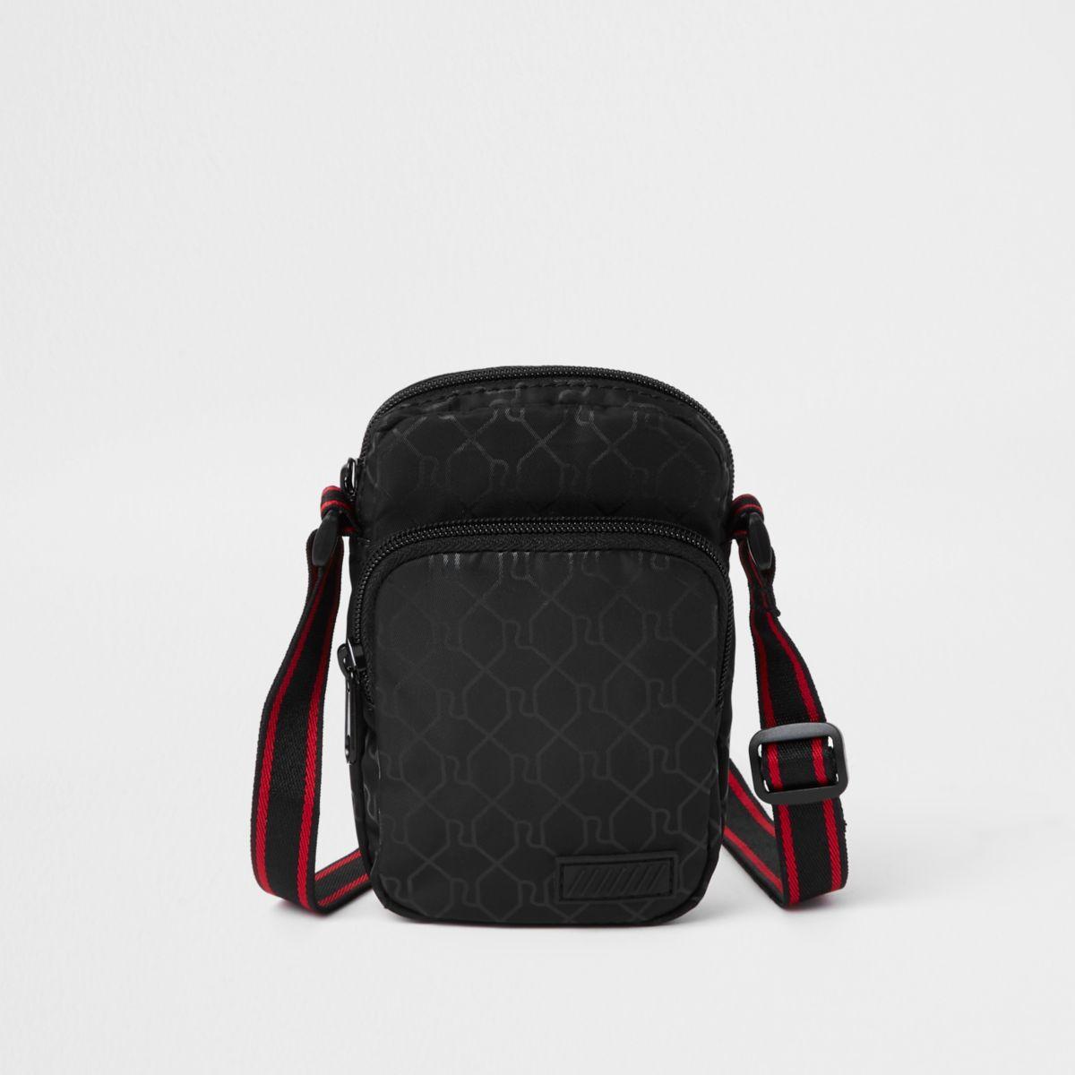Black mini cross body RI flight pouch