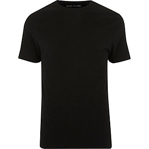 Big & Tall black muscle fit crew neck T-shirt
