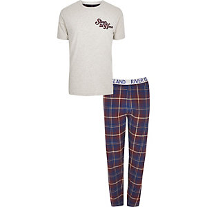 Big & Tall - Pyjamaset met 'sleep till noon'-print