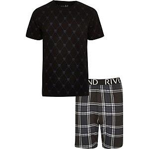 Big & Tall – Schwarzer Pyjama mit Schottenkaro und Panthermotiv