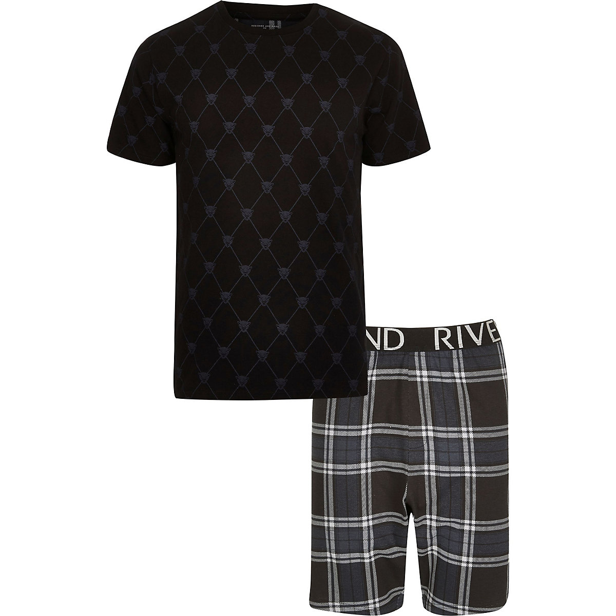 Big and Tall Black panther tartan pyjama set