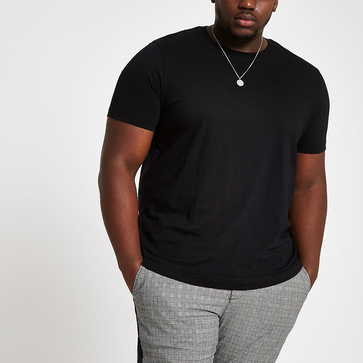 Big and Tall black slim fit T-shirt