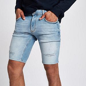 Short skinny en denim bleu clair déchiré