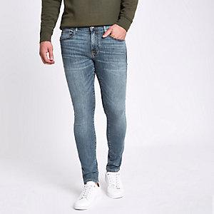 Danny – Mittelblaue Superskinny Jeans im Used-Look