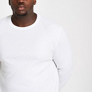 Big and Tall - Wit geribbeld T-shirt met ronde hals
