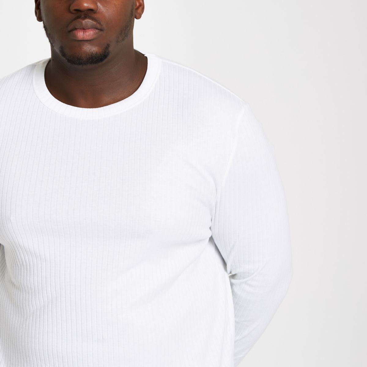 Big & Tall – Weißer, gerippter Pullover mit Rundhalsausschnitt