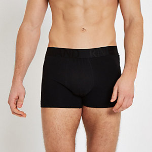 Multipack zwarte strakke boxers met RI-print op de tailleband