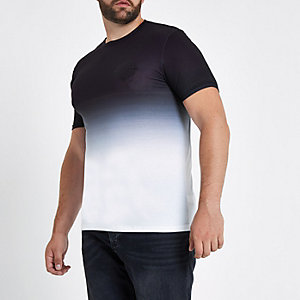 Big and Tall black fade muscle fit T-shirt