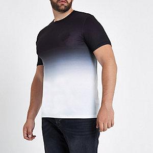 Big and Tall - Zwart aansluitend T-shirt met vervagende print