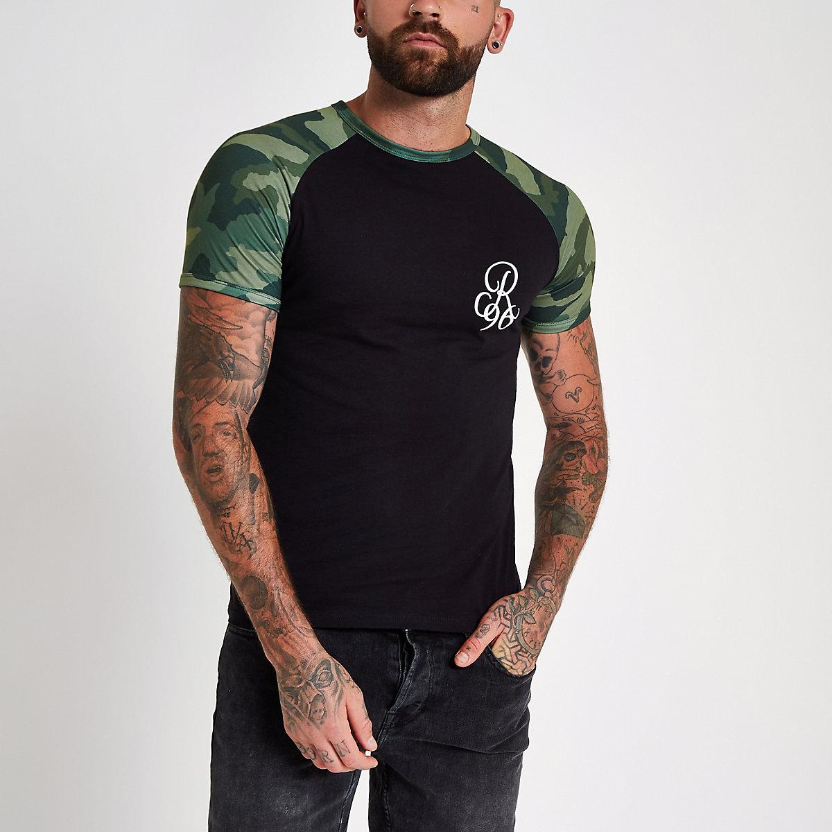 Black camo print muscle fit raglan T-shirt