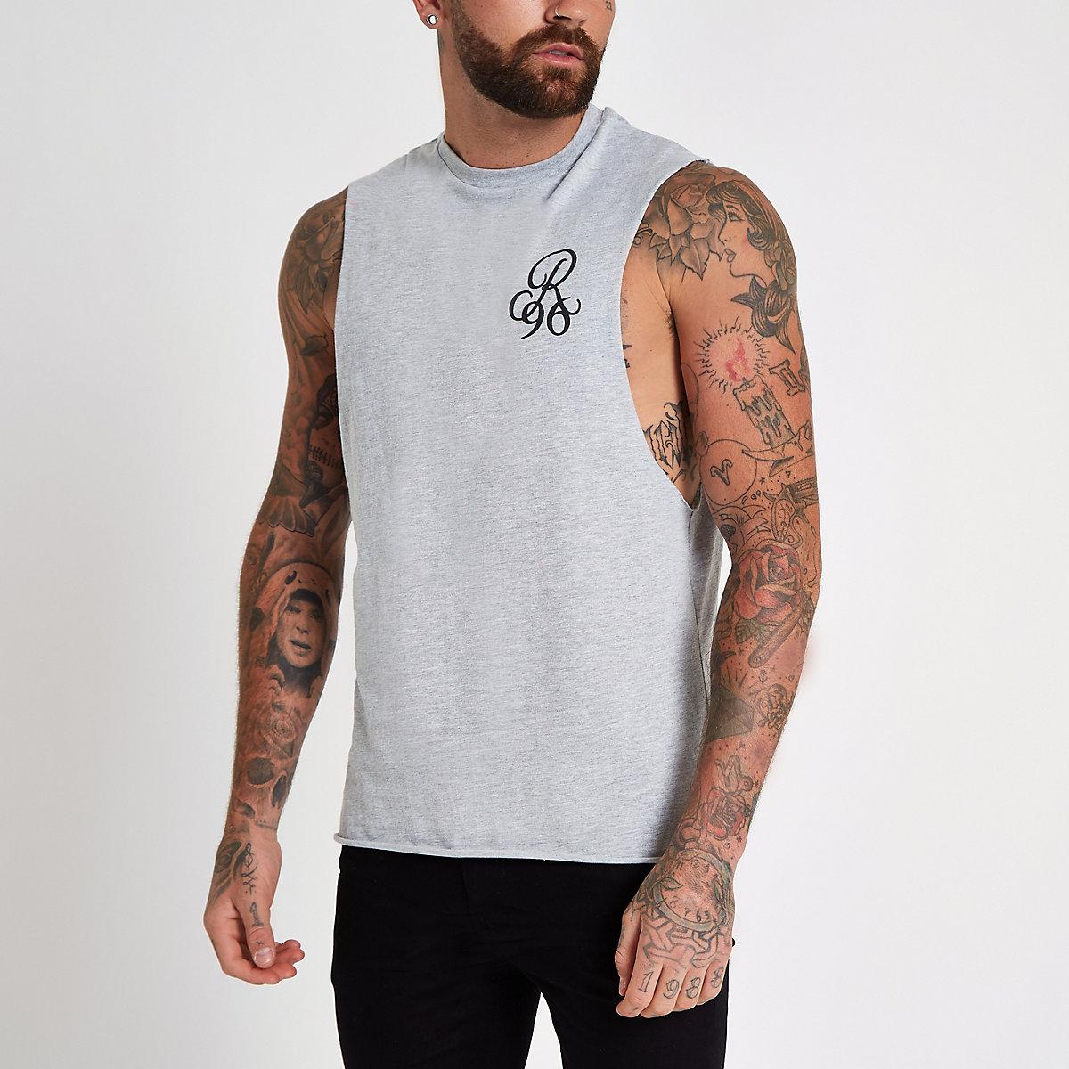 Grey R96 print tank vest