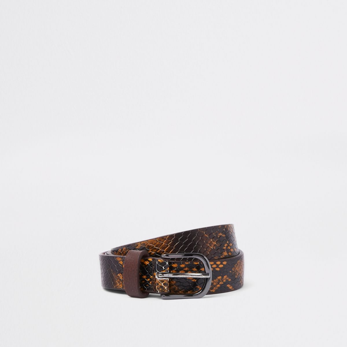 Brown snakeskin belt