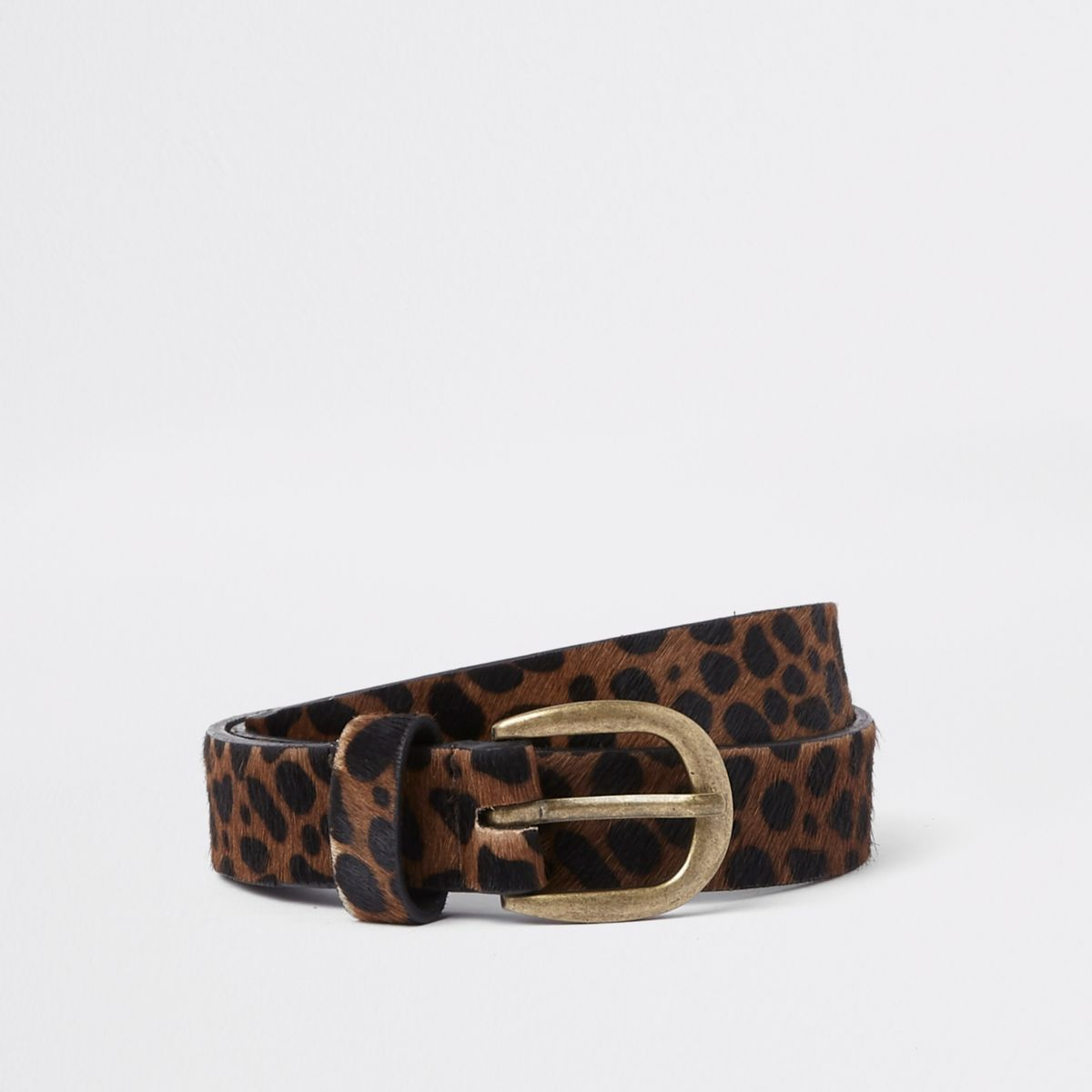 Brown leather leopard print belt