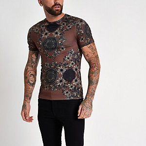 Brown printed short sleeve slim fit T-shirt