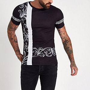 Zwart slim-fit T-shirt met barokprint
