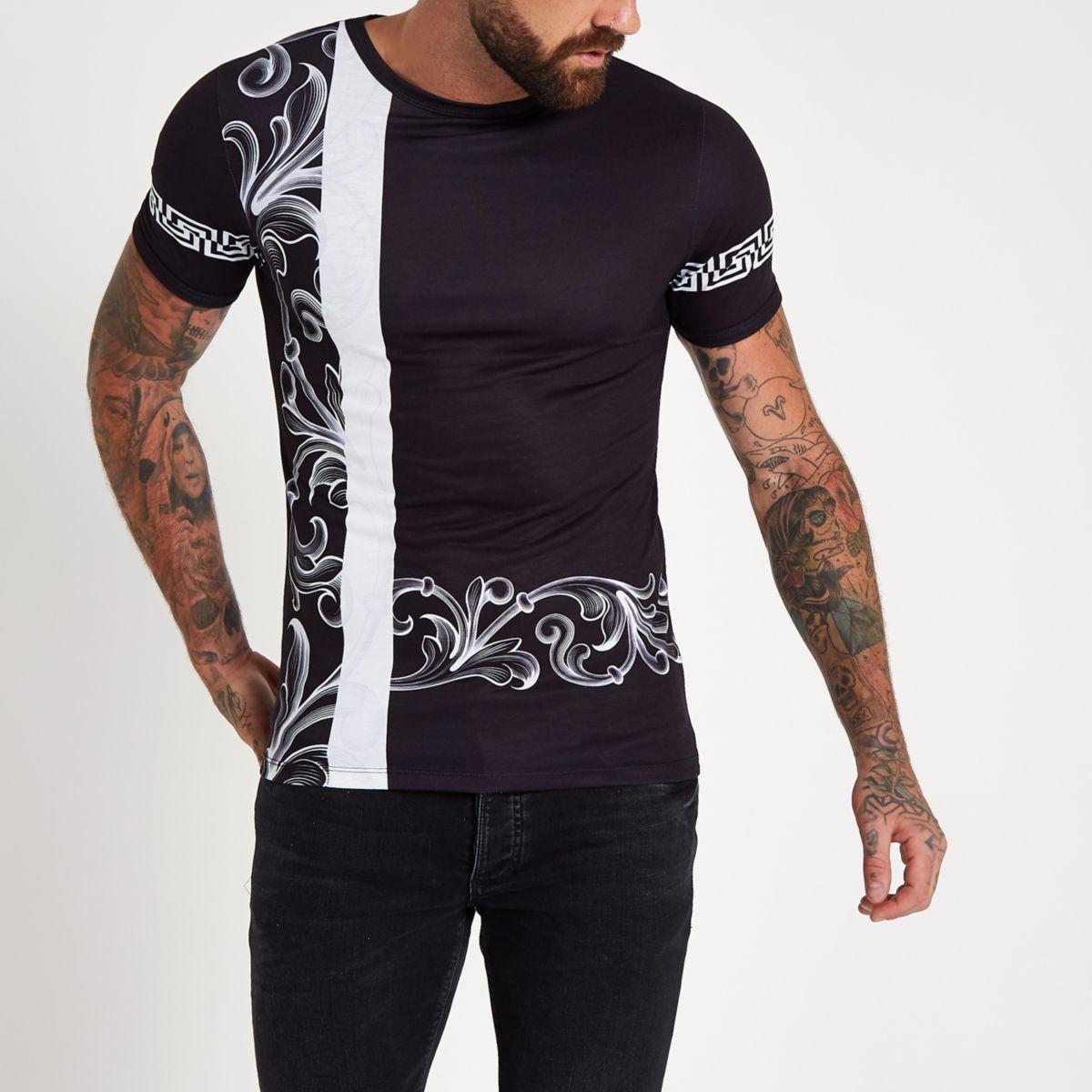 Black baroque print slim fit T-shirt