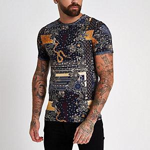 T-shirt slim ras-du-cou imprimé noir
