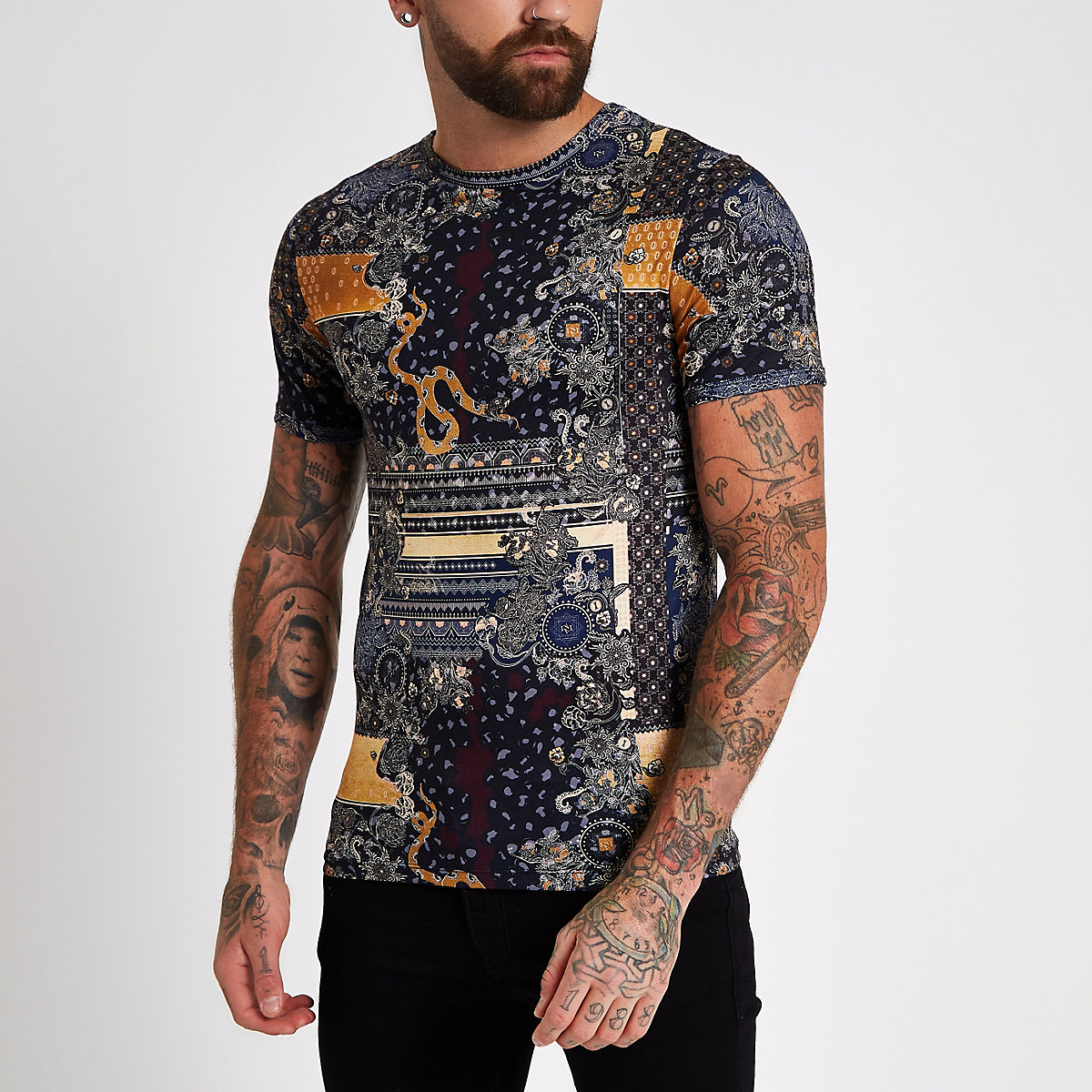 Black print crew neck slim fit T-shirt