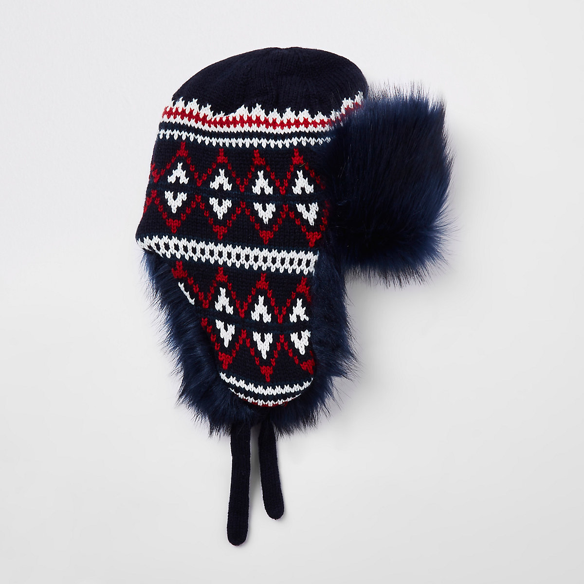 Navy knit faux fur trapper