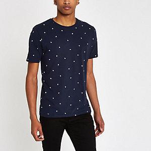 Minimum – T-shirt imprimé gouttes de pluie bleu marine