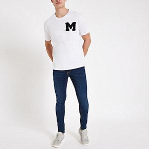Minimum – Weißes T-Shirt mit Stickerei