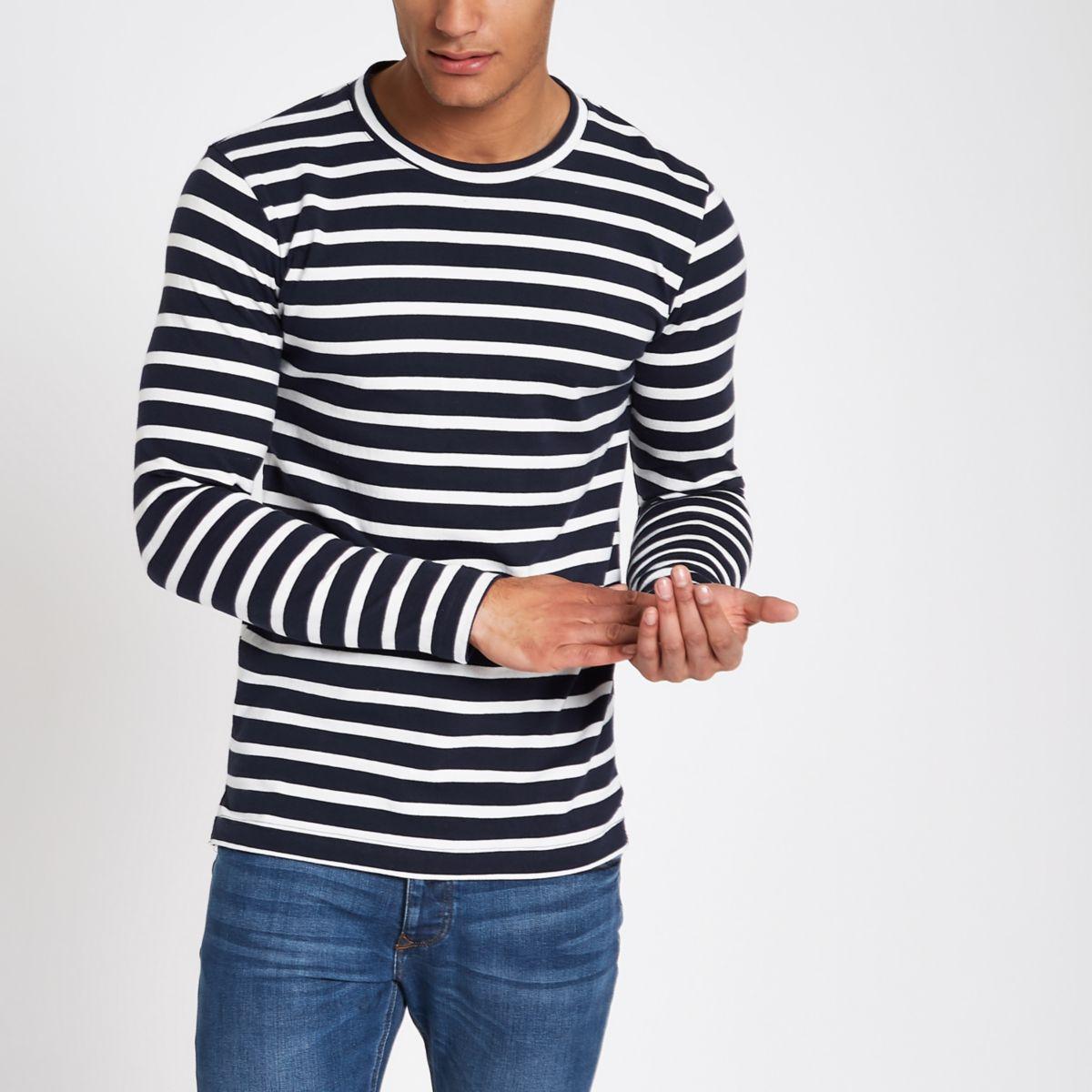 Minimum ecru stripe long sleeve T-shirt