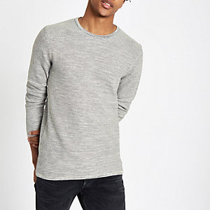 Minimum – Grauer Pullover mit Rundhalsausschnitt