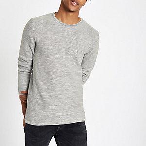 Minimum - Grijze pullover met ronde hals