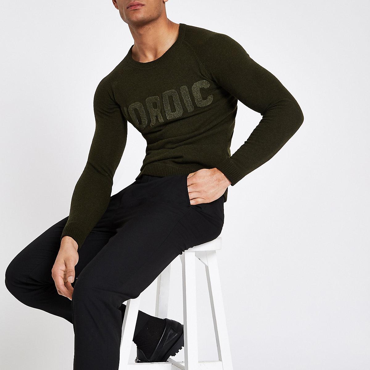 Minimum khaki 'Nordic' jumper