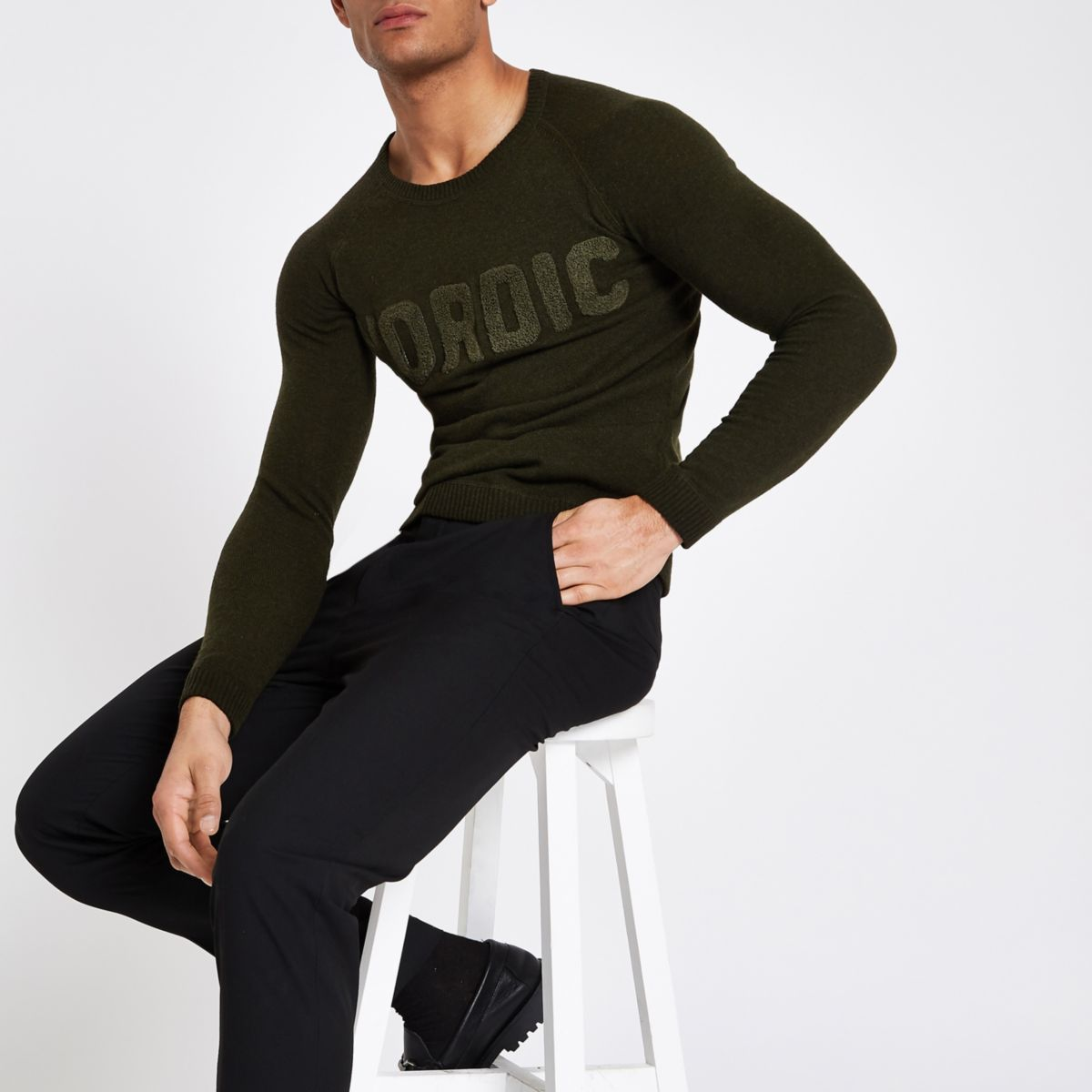 Minimum khaki 'Nordic' sweater