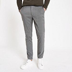 Minimum – Pantalon slim à carreaux gris