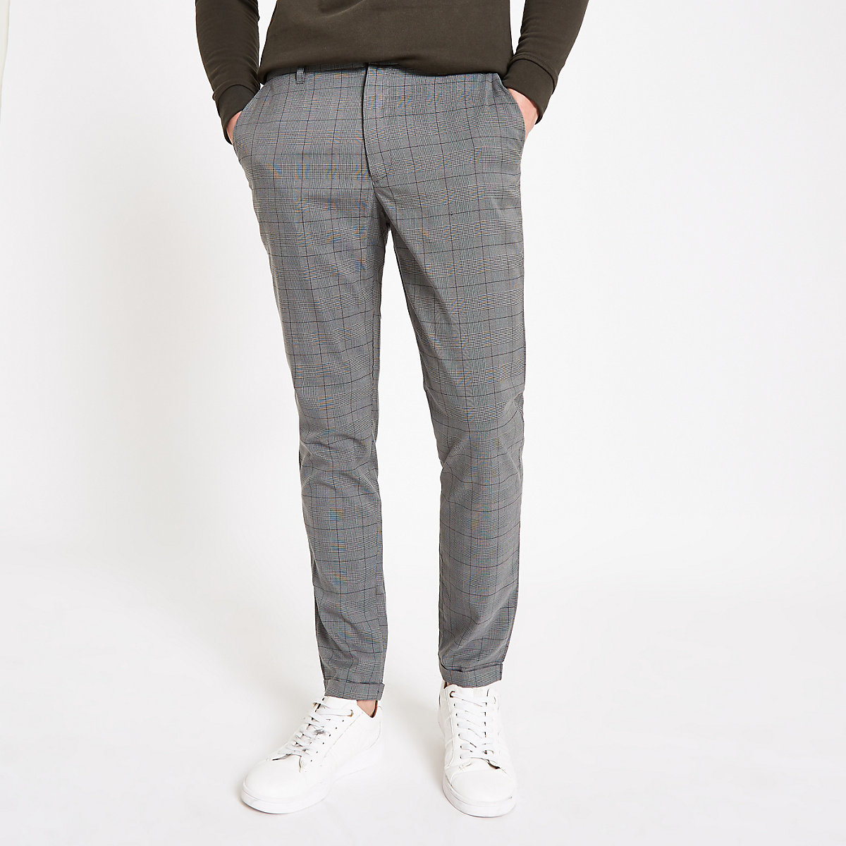 Minimum grey check slim fit trousers