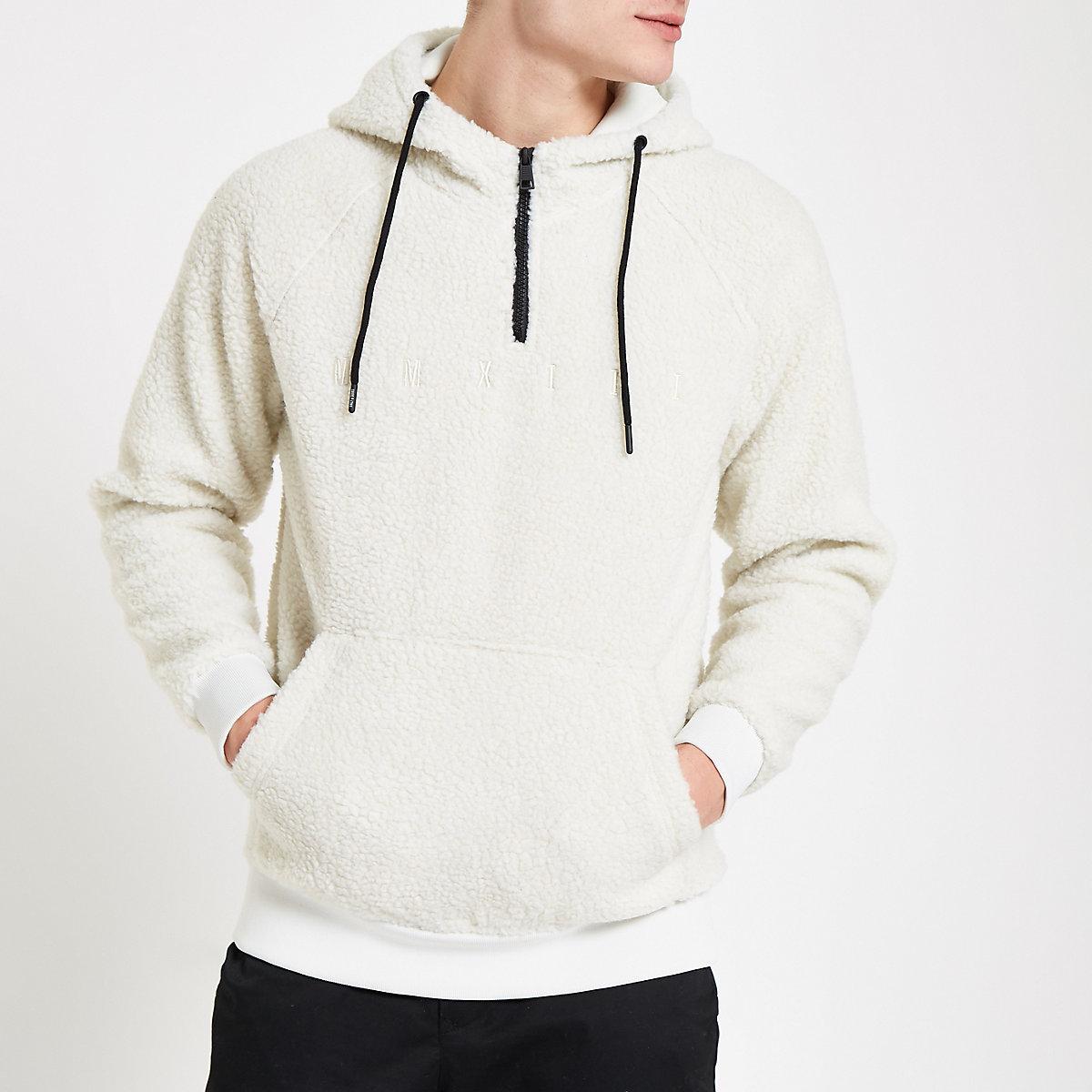 Only & Sons white hooded fleece
