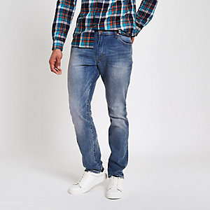 Wrangler – Blaue Skinny Fit Jeans